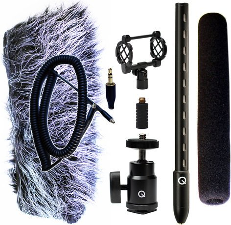 Que Audio QVIDEO-KIT Mini Shotgun Mic Kit for DSLRs with Accessories QVIDEO-KIT
