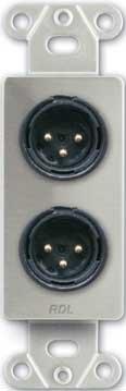 RDL DS-XLR2M  Dual Solder-Type 3-Pin XLR-M Jacks on Decora Wall Plate DS-XLR2M