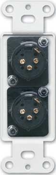 Radio Design Labs DS-XLR2M  Dual Solder-Type 3-Pin XLR-M Jacks on Decora Wall Plate DS-XLR2M
