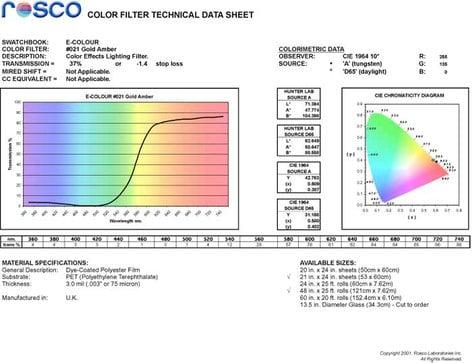 "Rosco Laboratories E-Colour #021 21""x24"" Sheet of Gold Amber Color Filter E-COLOUR-021-SHEET"