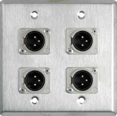 TecNec WPL-2109-TB  Wall Plate: 2 gang, 4 XLR 3-pin (M) WPL-2109-TB