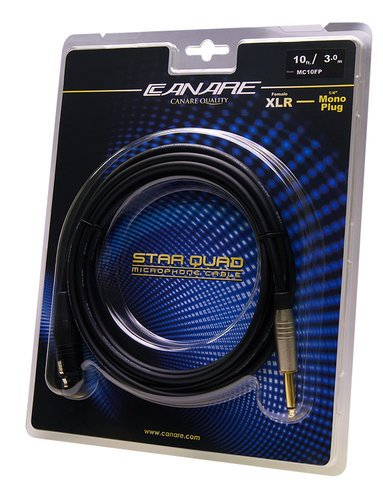 "Canare MC10FP 10 ft XLR Female Starquad to 1/4"" TS Mono Male Cable MC10FP"