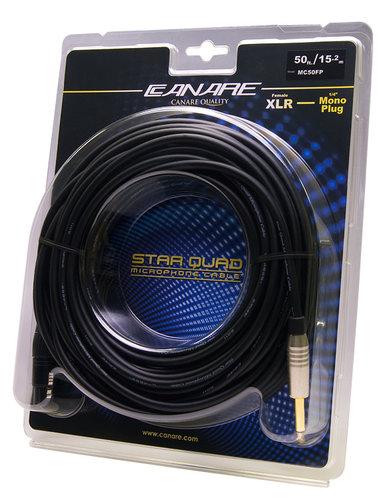 "Canare MC50FP 50 ft XLR Female Starquad to 1/4"" TS Mono Male Cable MC50FP"