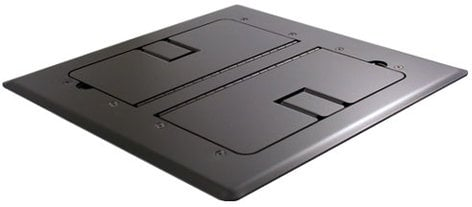 Mystery Electronics FMCA3400 Black Self-Trimming Floor Box with Cable Doors FMCA3400