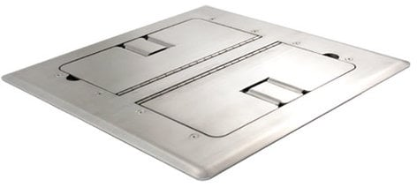 Mystery Electronics FMCA3800 Stainless Steel Self-Trimming Floor Box with Cable Doors FMCA3800