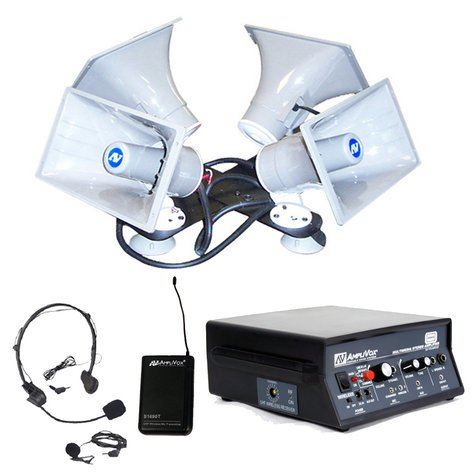 AmpliVox SW314 Wireless Quad Sound Cruiser Car PA System SW314