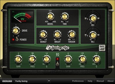 Overloud SPRINGAGE Spring Reverb Plug-in (Electronic Delivery) SPRINGAGE