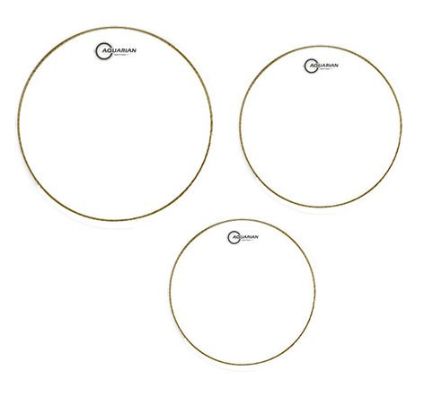 "Aquarian Drumheads RSP2C 3-Pack of Response 2 Clear Tom Tom Drumheads: 10"",12"",16"" RSP2C"