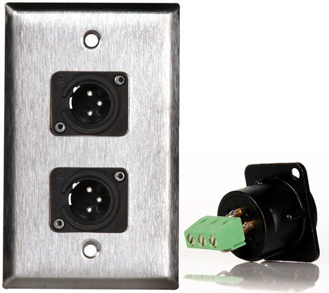 TecNec WPL1114-TB 1G Black Anodized Wallplate w/Two-3-Pin XLR-M-Terminal Blocks WPL1114-TB