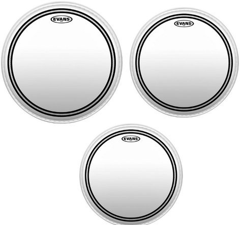"Evans ETP-EC2SCLR-F 3-Pack of EC2 Clear Fusion Tom Tom Drumheads: 10"",12"",14"" ETP-EC2SCLR-F"