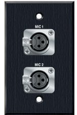 PanelCrafters PC-G1320-E-S-C Two XLR-F for Mics on 1 Gang Wallplate PC-G1320-E-S-C