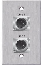 PanelCrafters PC-G1330-E-S-C 2 XLR-M on 1 Gang Wallplate PC-G1330-E-S-C