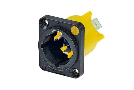 """Neutrik NAC3MPX PowerCON Male Power-In Chassis Receptacle to 1/4"""" Flat Tab Terminals NAC3MPX"""