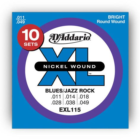 "D`Addario EXL115-10P 10 Pack of .011-.049"" Electric Guitar Strings EXL115-10P"