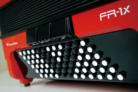 Roland FR1XB V-Accordion Button-Type Diatonic Digital Accordion in Red with Speaker FR1XB-RD