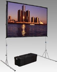 Da-Lite 88617N 7.5' x 10' Fast-Fold® Deluxe Truss Frame Black-Backed Da-Mat® Screen Surface 88617N