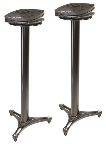 Ultimate Support MS-100B 1 Pair Studio Monitor Column Stands in Black with Adjustable Angle and Axis, Foam Platform MS100B