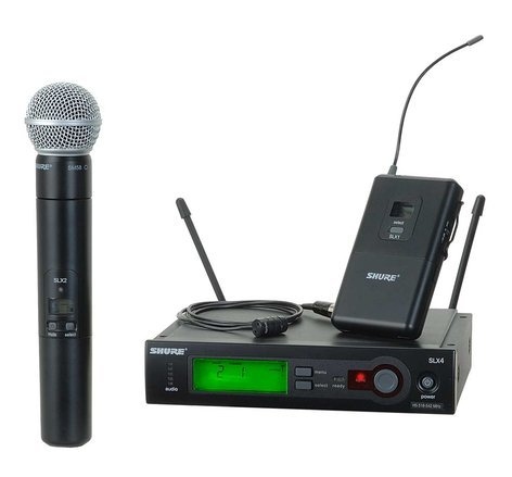 Shure SLX124/85/SM58 Wireless Diversity Combo Bodypack/Handheld Microphone System with SM58 Capsule and WL185 Lapel SLX124/85/58