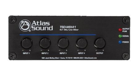 Atlas Sound TSD-MIX41 4-Channel Mic/Line Mixer TSD-MIX41