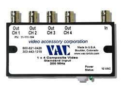 Video Accessory Corp 11-111-104 Video 1x4 UG 12vac BNC Connect  11-111-104