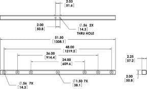 "Allen Products/Adaptive Technologies PM-DA-48G PoleStar PM Series Dual Adapter, 48"", Galvanized Steel PM-DA-48G"