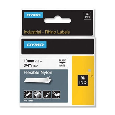 "Dymo 18489 3/4"" Industrial Flexible White Nylon Label Tape for Rhino Label Printers 18489"