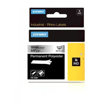 """Dymo Corporation 18487 3/4"""" Industrial Metallic Permanent Polyester Label Tape for Rhino Label Printers 18487"""