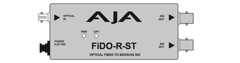AJA Video Systems Inc FiDO-R-ST 1 Channel ST Optical Fiber to SD/HD/3G-SDI Mini Converter with Power Supply FIDO-R-ST