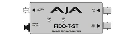 AJA Video Systems Inc FiDO-T-ST Single Channel SD/HD/3G-SDI to ST Optical Fiber Converter with Looping SDI Output and Power Supply FIDO-T-ST