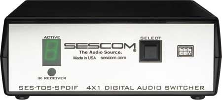 Sescom SES-TOS-SPDIF  4X1 Digital Audio Switcher, TOS to SPIDF SES-TOS-SPDIF
