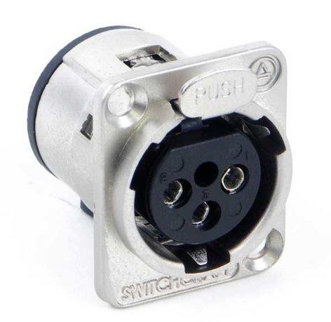 Switchcraft E3FSCBAU 3 Pin XLR-F Square Panel Connector, Black/Gold E3FSCBAU