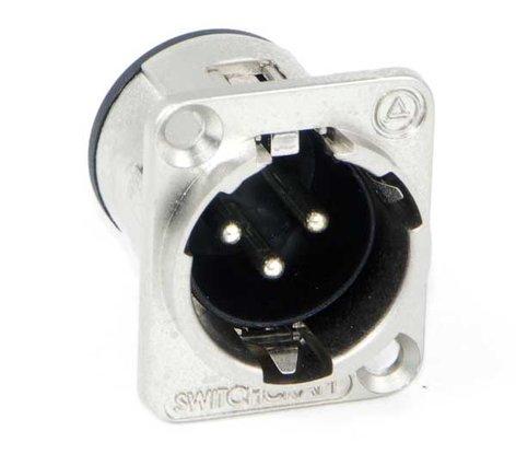 Switchcraft E3MSCBAU 3 Pin XLR-M Square Panel Connector, Black/Gold E3MSCBAU