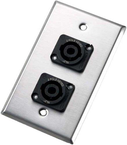 Neutrik 202L Single-Gang Wall Plate with 2x NL2MP Speakon Connectors 202L