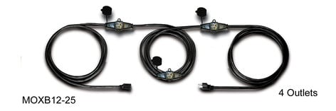 Caldwell Bennett Inc MOXB12-25 25 ft. 4-Outlet 12 Gauge Black Extension Cable MOXB12-25
