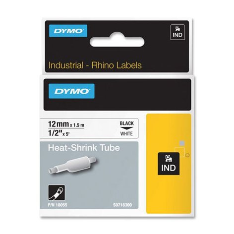 """Dymo Corporation 18055 1/2"""" Industrial White Heat Shrink Tape for Rhino Label Printers 18055"""