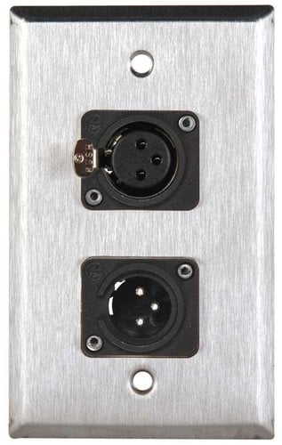 TecNec WPL-1113-COMBO Single Gang Wall Plate with 1 XLRM and 1 XLRF WPL-1113-COMBO