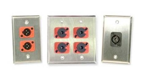 "Whirlwind WP2B/4FW Wall Plate, Daul Gang, with 4 WC3F Female XLRs, .04"" Black Aluminum WP2B/4FW"
