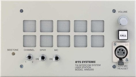 RTS WMS-300L A4F 2-Channel Wall Mount User Station with Speaker, A4F Headphone Connector WMS300L/A4F