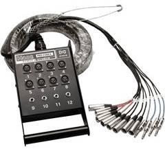 """Hosa SH-8X4-50 12ch,  8 x XLR and 4 x Bal 1/4"""" Snake, 50ft, Fan to Box SH8X4-50"""