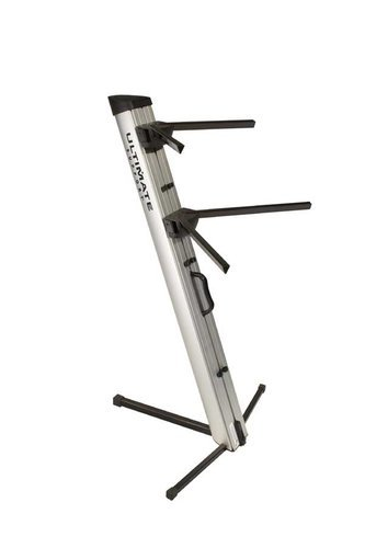 Ultimate Support AX-48 PRO SILVER APEX Two-Tier Portable Column Keyboard Stand in Silver AX48PRO-SILVER