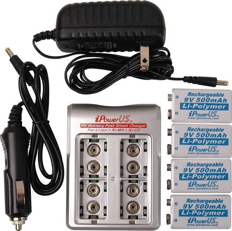 TecNec IP-COMBO  iPower 4 Bay 9V Battery Charger With 4 - 9v Lithium Polymer Batteries IP-COMBO
