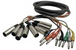"""Hosa STX805M 8 Channel Snake, XLR Male to Balanced 1/4"""" Male, 16.5 ft STX805M"""