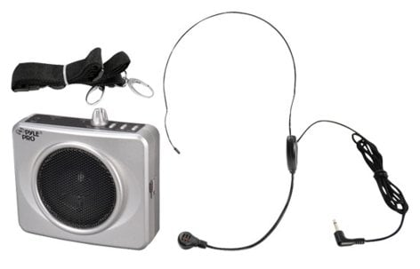 Pyle Pro PWMA60US 50W Portable Waistband PA Amp in Silver with Headset Mic, USB Port PWMA60US
