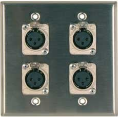 RapcoHorizon Music DP-4H3FP Two-Gang Wall Plate with 4x XLR-F Ports DP-4H3FP
