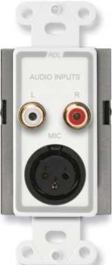 RDL D-J3 Mic (XLR)/Line (RCA) Wall Plate Audio Input Assembly D-J3