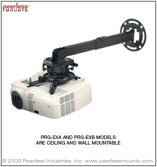 Peerless PRG-EXB-W PRG Series Precision Gear Adjustable Projector Ceiling/Wall Projector Mount Kit in White, 50 lb Wt. Cap. PRG-EXB-W