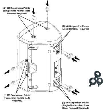 Electro-Voice SSK-1 Single Stud Rigging Kit for ZX3, 3-pk SSK-1