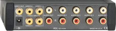 RDL EZ-AVX4 4x1 Composite Video & Stereo Audio Input Switcher EZ-AVX4