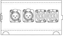 Pro Co ND4011 FP4 Floor Pocket Connector Plate with 2x Neutrik NC3FDL-1 XLR-F, 2x Neutrik NL4MP 4-Conductor Speakon Connectors ND4011