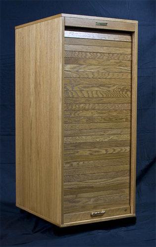 HSA Rolltops RR16-II  16 Space Equipment Rack, Wood Cabinet RR16-II
